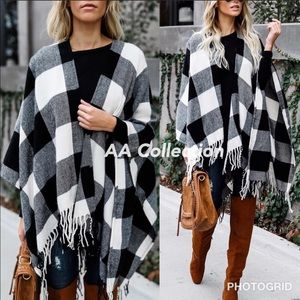 Buffalo Check plaid Tassel shawl  Poncho